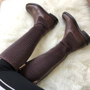 Cole Haan Knee-High Leather Boots- Wine Color